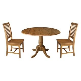 "42"" Round Top Pedestal Table with Two Chairs, Pecan"