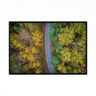 Noir Gallery Fall Color Forest Along Road Framed Art Print