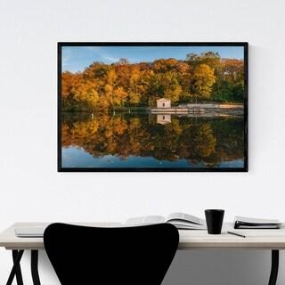 Noir Gallery Baltimore Fall Foliage Lake Framed Art Print