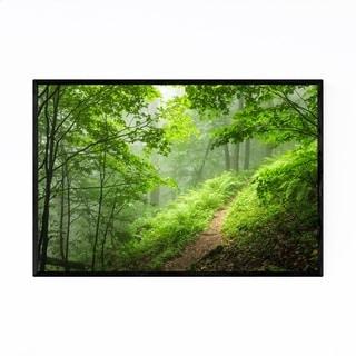 Noir Gallery Bulgaria Forest Trail Foggy Mist Framed Art Print