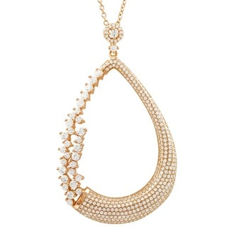 Link to Luxiro Sterling Silver White Cubic Zirconia Open Teardrop Pendant Necklace Similar Items in Necklaces