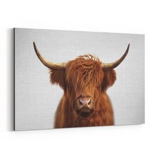 Noir Gallery Highland Cow Peeking Animal Canvas Wall Art Print