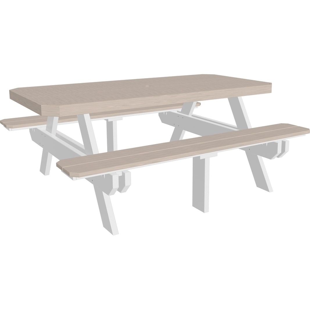 Outstanding Outdoor 6 Picnic Table W Attached Benches Recycled Plastic Squirreltailoven Fun Painted Chair Ideas Images Squirreltailovenorg