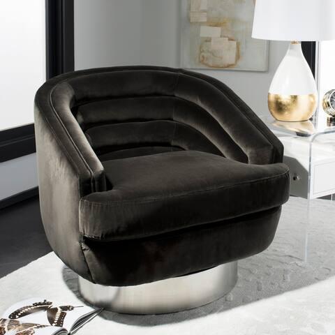 Safavieh Couture Arvilla Dark Grey Velvet Commercial Grade Swivel Club Chair