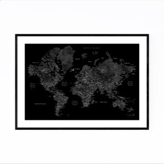Noir Gallery Black Watercolor World Map Framed Art Print