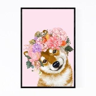 Noir Gallery Cute Shiba Inu Peekaboo Animal Framed Art Print