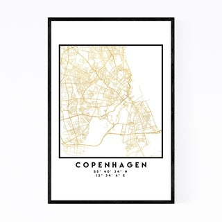 Noir Gallery Minimal Copenhagen City Map Framed Art Print
