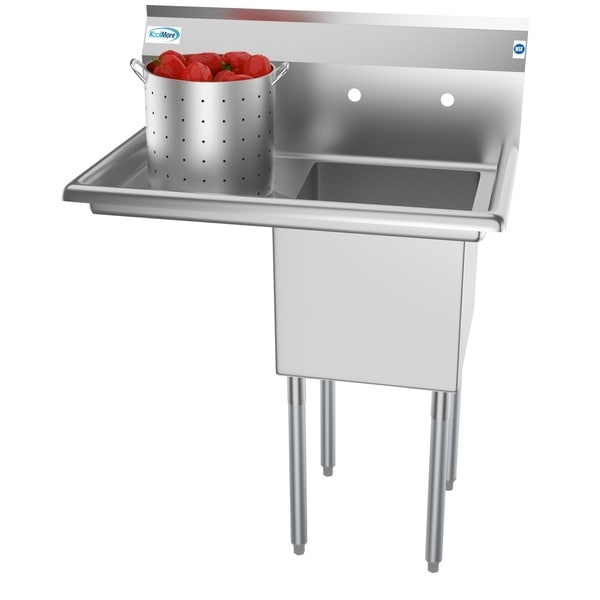 KoolMore 33-Inch Stainless Steel Commercial Kitchen Prep and Utility Sink - Left Drainboard