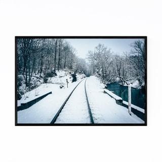 Noir Gallery Rural Maryland Railroad in Snow Framed Art Print