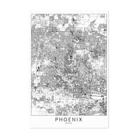 Noir Gallery Phoenix Black & White City Map Unframed Art Print/Poster