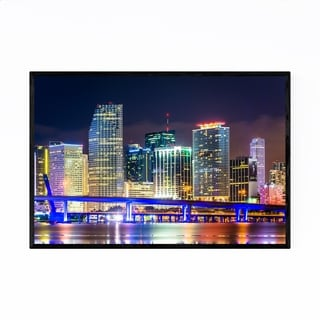 Noir Gallery Miami Beach, Florida Skyline Framed Art Print