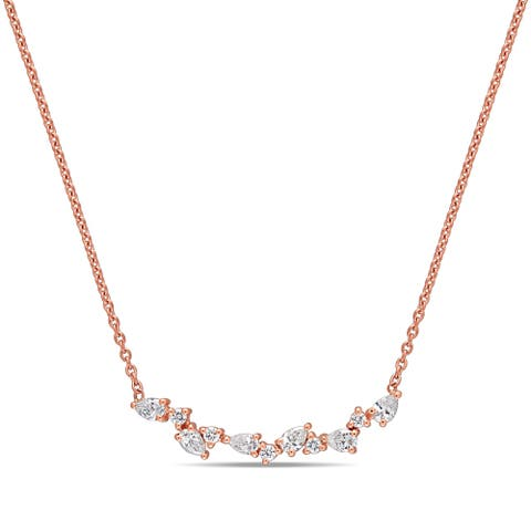 Miadora 14k Rose Gold 3/8ct TDW Pear and Round-Cut Diamond Cluster Bar Necklace
