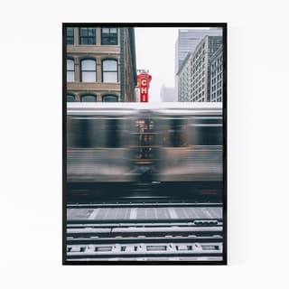 Noir Gallery Chicago Theater L Train City Framed Art Print