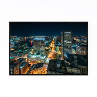 Noir Gallery Baltimore Downtown Night Skyline Framed Art Print