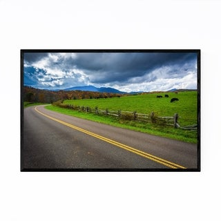 Noir Gallery Rural Farm Cows Mountain Photo Framed Art Print