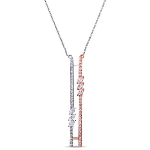 Miadora 2-Tone 14k Rose and White Gold 1/2ct TDW Marquise Diamond Double Bar Lariat Y-Necklace