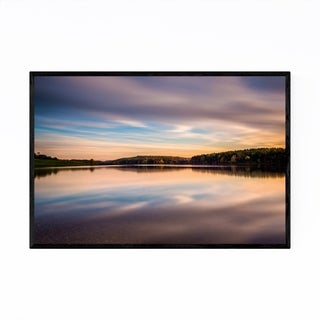 Noir Gallery Lake Sunset Colorful Landscape Framed Art Print