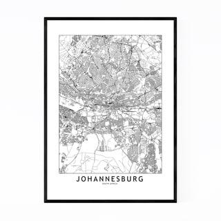 Noir Gallery Johannesburg Black & White Map Framed Art Print