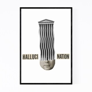 Noir Gallery Halucination Typography Collage Framed Art Print