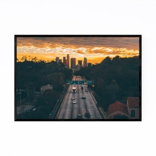 Noir Gallery Los Angeles Skyline Cityscape Framed Art Print