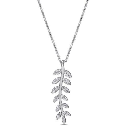 Miadora 14k White Gold 1/4ct TDW Diamond Leaf Branch Dangle Necklace
