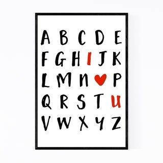 Noir Gallery Love Alphabet Typography Framed Art Print