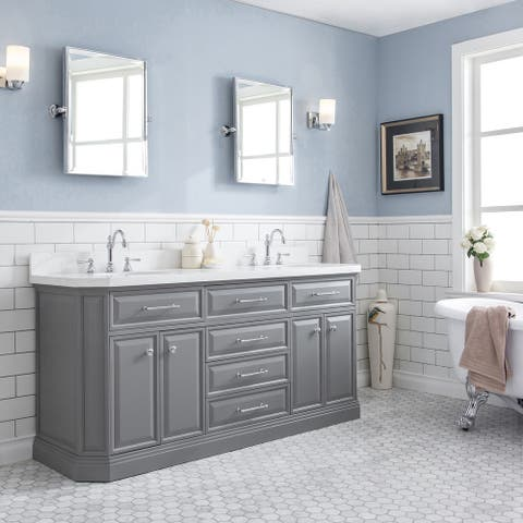 """72"""" Palace Collection Quartz Carrara Cashmere Grey Bathroom Vanity Set With Hardware And F2-0012 Faucets"""