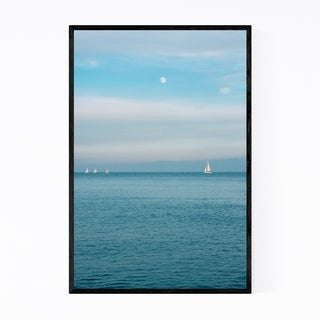Noir Gallery Moon Sailboats Barcelona Spain Framed Art Print