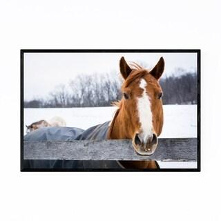 Noir Gallery Horse on Farm in Snow Winter Framed Art Print