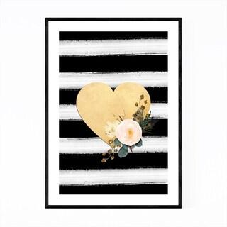 Noir Gallery Floral Gold Heart Love Wedding Framed Art Print