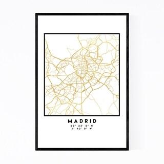 Noir Gallery Minimal Madrid City Map Framed Art Print