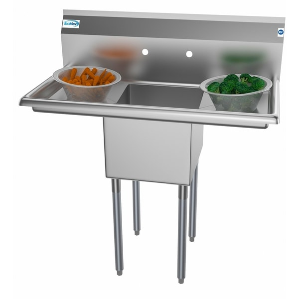 KoolMore 38-Inch Stainless Steel Commercial Kitchen Prep Sink -2 Drainboards