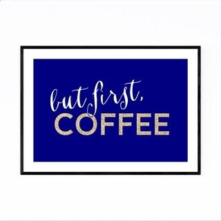 Noir Gallery Blue Coffee Kitchen Typography  Framed Art Print