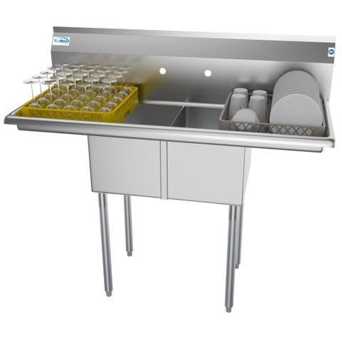 KoolMore 48-Inch Two Compartment Stainless Steel Commercial Kitchen Prep Sink