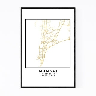Noir Gallery Minimal Mumbai City Map Framed Art Print