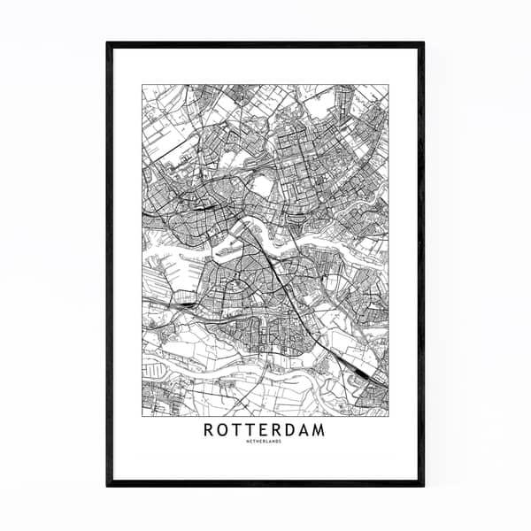 Shop Noir Gallery Rotterdam Black & White City Map Framed