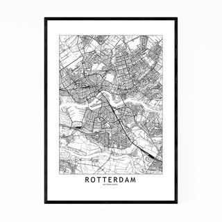 Noir Gallery Rotterdam Black & White City Map Framed Art Print