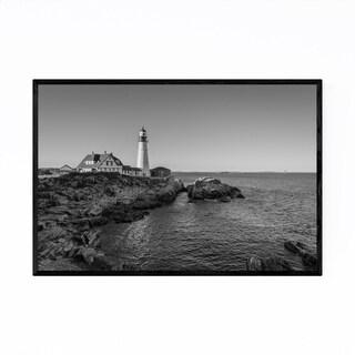 Noir Gallery Black White Portland Lighthouse Framed Art Print
