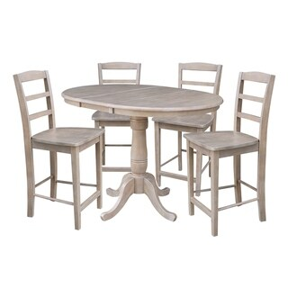"""36"""" Extension Counter Height Table and Four Stools - Washed Gray Taupe"""