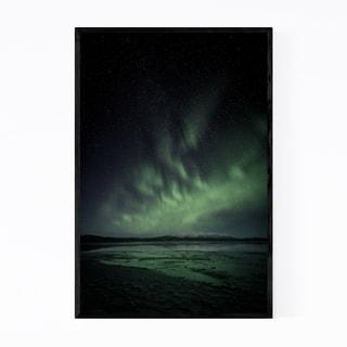 Noir Gallery Aurora Borealis Ice Lake Finland Framed Art Print