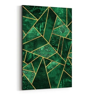 Noir Gallery Green Abstract Geometric Nature Canvas Wall Art Print