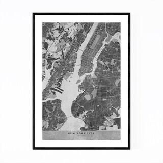 Noir Gallery Minimal Gray New York City Map Framed Art Print