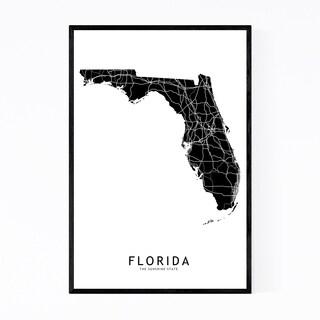 Noir Gallery Florida Black State Map Framed Art Print