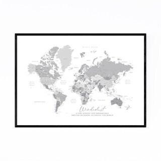 Noir Gallery Green Wanderlust World Map Framed Art Print