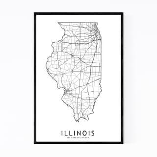 Noir Gallery Illinois Black & White State Map Framed Art Print