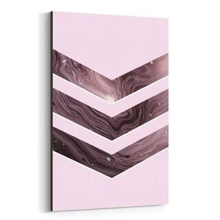 Noir Gallery Pink Chevron Marbling Geometric Canvas Wall Art Print