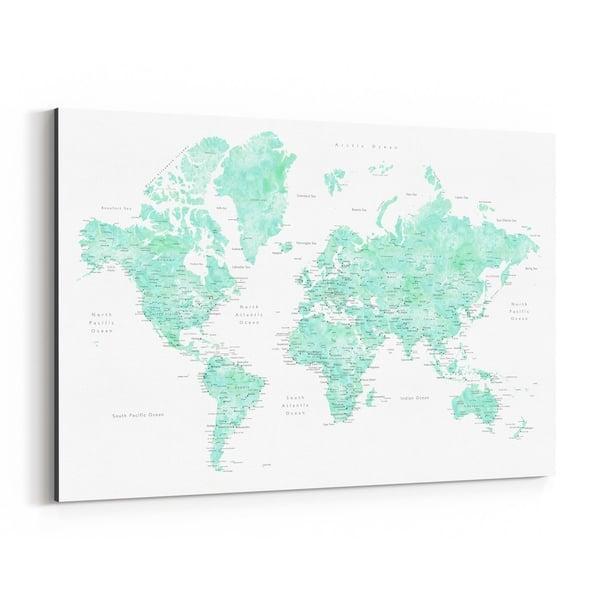 Noir Gallery Pastel Mint Watercolor World Map Canvas Wall Art Print