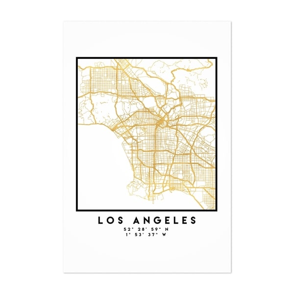 image regarding Printable Maps of Los Angeles referred to as Noir Gallery Low Los Angeles Town Map Unframed Artwork Print/Poster