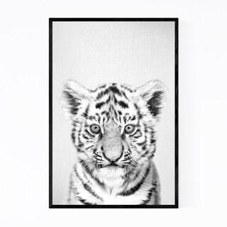 Noir Gallery Cute Baby Tiger Peekaboo Animal Framed Art Print