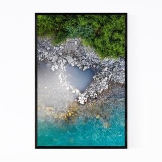 Noir Gallery Heart Love Blue Water Nature Framed Art Print
